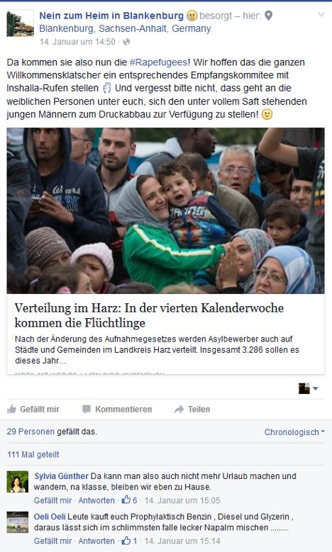 """Screenshot der Facebook-Seite """"Nein zum Heim in Blankenburg"""" aus dem Januar 2016"""