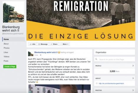 """Screenshot der Facebook-Seite """"Blankenburg wehrt sich II"""""""