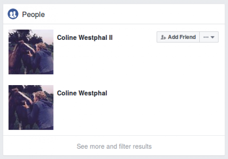 Screenshot Facebook-Profile von Coline Westphal