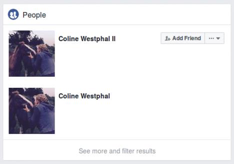Screenshot Facebook-Profile von Coline Westphal