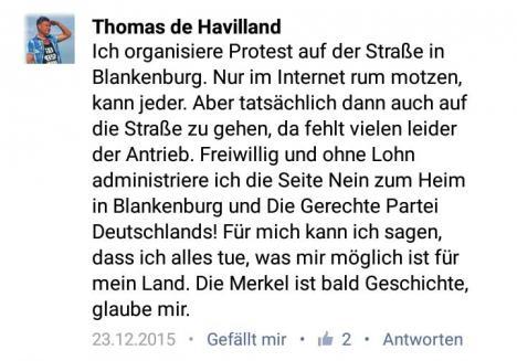 Screenshot eines Facebook-Kommentars von Thomas Voigt